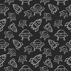 spaceship ufo cartoon seamless pattern
