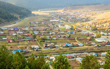 The old Russian village of Kaga, located in the Urals in Bashkortostan, Russia