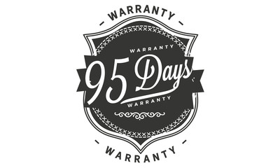 95 days warranty icon vintage rubber stamp guarantee
