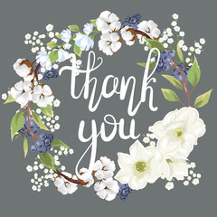 Thank you. Hand-written lettering. Beautiful floral wreath