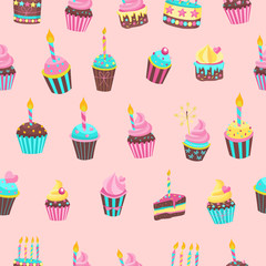 Seamless pattern. Beautiful cute birthday cakes with candles. For printing on textiles, paper. For birthday gift packaging.