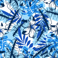 abstract blue flower pattern