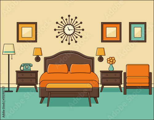 Bedroom Retro Interior Hotel Room In Flat Design With Bed Vector