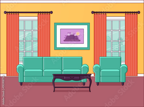 Room Interior Vector Living Room In Flat Design Home