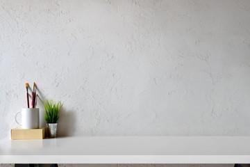 Desk contemporary designer and copy space.