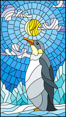 Illustration in stained glass style with a  penguin on a background of snow, sun and clouds
