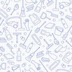 Seamless pattern on the theme of cleaning and household equipment and cleaning products, blue  contour  icons on the clean writing-book sheet in a cage