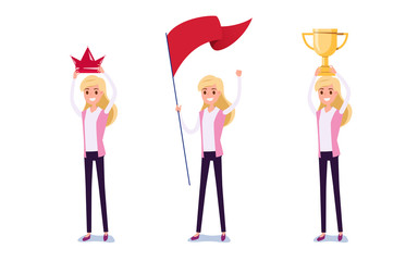 Young businessman character design. Set of business woman acting in suit holds crown, flag, trophy of success, Different emotions, poses and running, walking, standing, sitting.