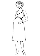 Pregnant woman, vector outline hand drawing, coloring, sketch. Black and white cartoon portrait of expectant girl with big belly full-length, drawn future mother in dress isolated on white background