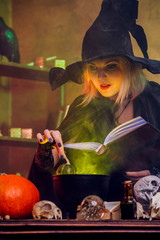 Picture of witch blonde in black hat with book brewing potion in pot