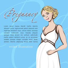 Pregnant woman hand drawing, vector background, banner, card. Colored cartoon portrait of expectant girl with a big belly, drawn happy future mother in white dress and text, isolated on blue backdrop