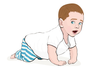 Crawling baby vector hand drawing. Colored cartoon picture small child crawls on the knees, drawn portrait cute kid full-length in striped blue pants and a white T-shirt isolated on white background