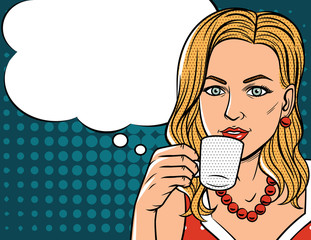 Vector illustration in comic art style of  pretty woman with cup of coffee.  Glamour lady with blonde hair drinking a coffee over halftone dot background