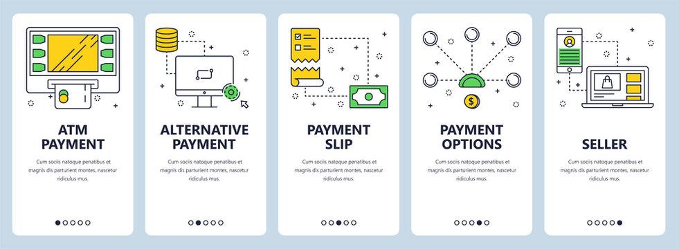 Vector modern thin line atm payment vertical web banner set