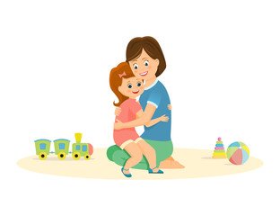Cartoon mother and daughter embrace. Vector illustration.Isolated on white background.