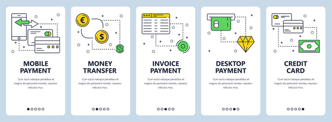 Vector modern thin line payment vertical web banner set