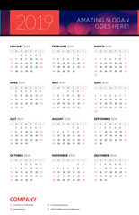 Calendar poster for 2019 year. Portrait oriantation. Vector design print template with abstract background or place for photo. Week starts on Sunday