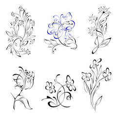 flowers 3-1. SET. stylized flowers and one butterfly in lines on a white background. SET