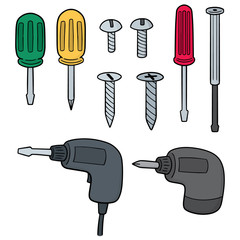 vector set of screw and screwdriver