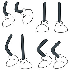 vector set of cartoon leg