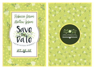 Save the date. Wedding invitation double-sided card design template with cute floral background. Stationery design. Vector illustration