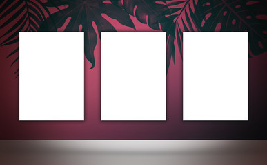 Poster on the wall background, tropical leaves, poster, mocap, frame
