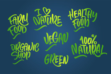 Lettering set for natural products in green colors. Handwritten logo I love Nature, organic shop, farm food,100% natural, healthy food, green, Vegan