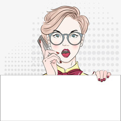Pop Art Vintage advertising poster comic girl in blouse holds banner and calls by phone. Comic woman with speech bubble. Vector illustration