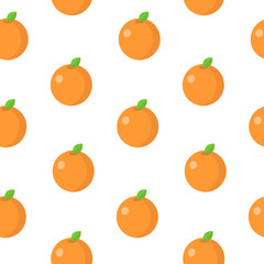 Seamless pattern with orange in flat style. Vector illustration.