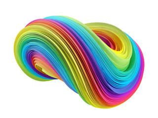 3d colorful abstract waves element isolated on white. 3d rendering