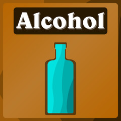 Vector image of a table in the supermarket department with alcoholic products. Color pattern. Background. Stickers.
