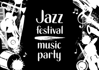 Jazz festival music party grunge poster with musical instruments