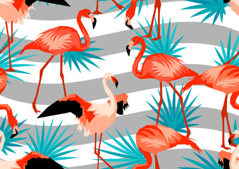 Seamless border with flamingo. Tropical bright abstract birds and palm leaves