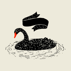 Background with floating black swan. Hand drawn bird
