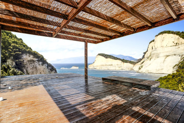 wooden brown terrace and landscape of sea