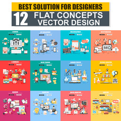 Modern set of flat concept web banner of E-Banking, App Development, SEO, E-Commerce, Education, Branding, Marketing, Shopping. Conceptual vector illustration for web and graphic design, website.
