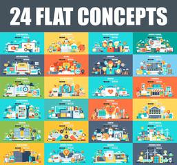 Modern set of flat concept web banner of Cloud Computing, E-Banking, E-Commerce, Marketing, Teamwork, Education, SEO, Development. Conceptual vector illustration for web and graphic design, website.