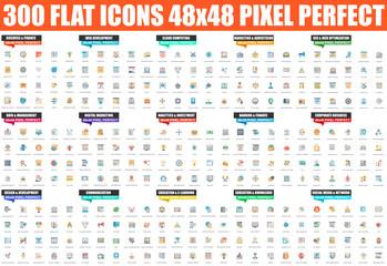 Simple set of vector flat icon. Contains such Icons as Business, Finance, Development, SEO, Marketing, Banking, Education, Investment, Advertising and more. Linear pictogram pack. 48x48 Pixel Perfect.