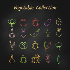 Chalk style outline vegetable icon set isolated on black chalkboard. Vector illustration with set of green, red and yellow grunge contour vegetables for organic market logo or fresh eco product symbol