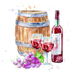 Bottle of red wine, glasses,wooden barrel and grapes.Picture of a alcoholic drink.Beverage.Watercolor hand drawn illustration.White background.