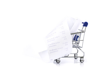 Shopping cart with receipt Isolated On White background , concept for grocery expenses and consumerism