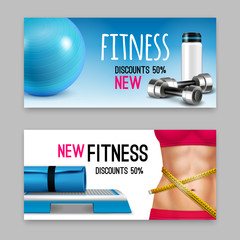 Fitness Accessories Realistic Banners Set