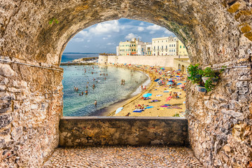 Rock balcony overlooking Gallipoli waterfront, Salento, Apulia, Italy