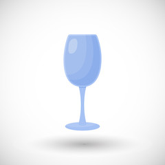 Empty wine glass flat vector icon