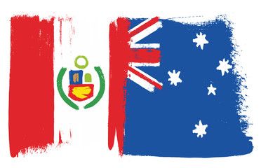 Peru Flag & Australia Flag Vector Hand Painted with Rounded Brush