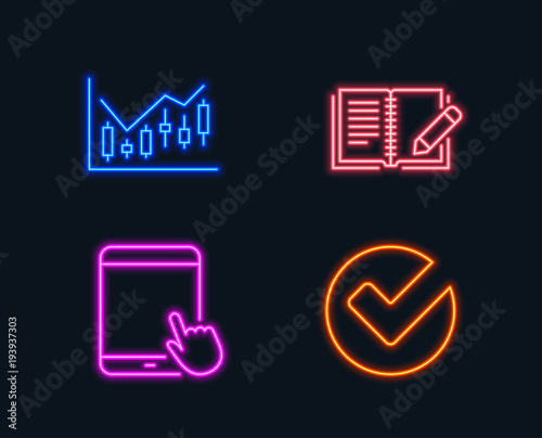 Neon Lights Set Of Financial Diagram Feedback And Tablet Pc Icons