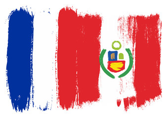 France Flag & Peru Flag Vector Hand Painted with Rounded Brush