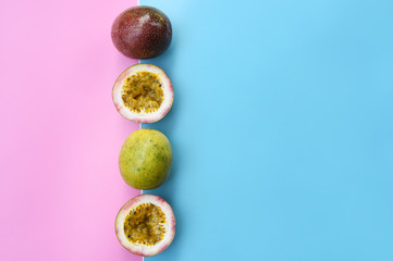 close up of fresh purple passion fruits harvest from farm Wall mural