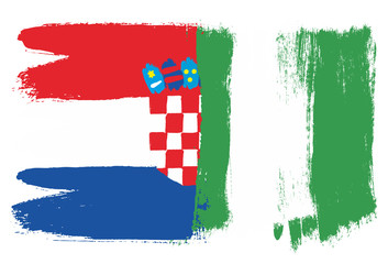 Croatia Flag & Nigeria Flag Vector Hand Painted with Rounded Brush