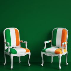 Chair in color of Irish flag on green background with copy space. Digital illustration.3d rendering
